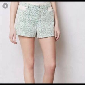 Anthropologie Cartonnier Green Lace Shorts